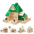 New Construction 3D Wooden House Puzzle DIY Building Model Toy Craft for Kids Adult