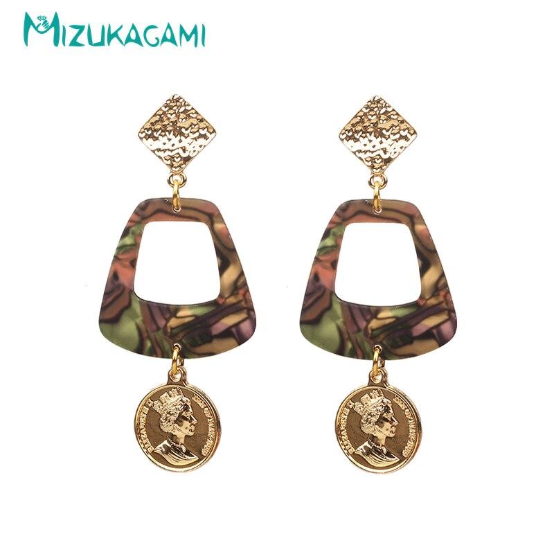 Women's Rock Earrings Korean Acrylic Earrings Geometric Drop Earrings imitation Abalone shell For Women Hollow Resin Material