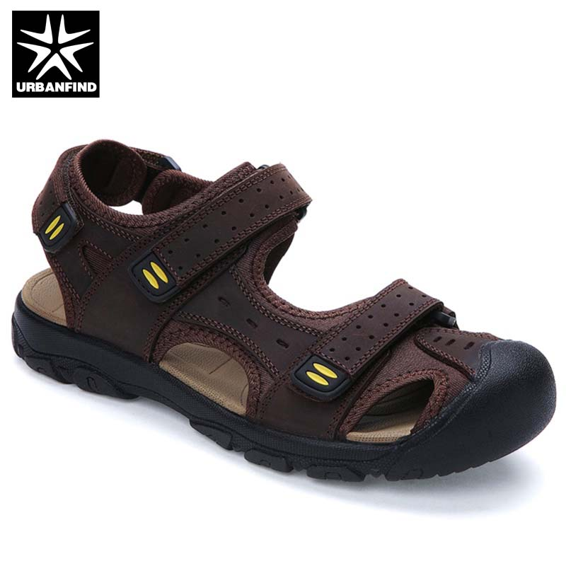 Men Genuine Leather Sandals Casual Loafers Big Size 38-48 Quality Brand Fashion Man Summer Beach Shoes Brown Khaki