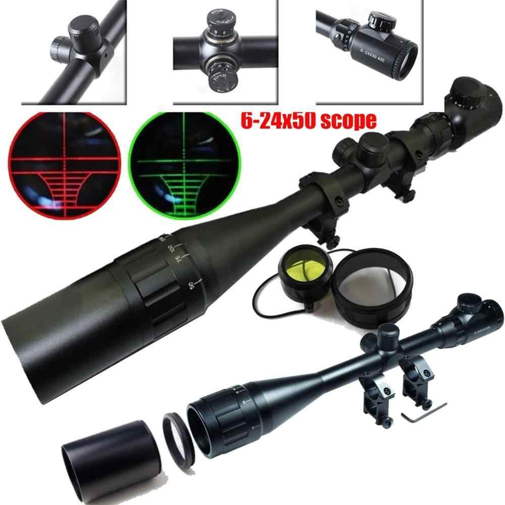 Охотничий прицел 6-24x50 Aoe Riflescope Регулируемый зеленый красный точечный охотничий светильник тактический оптический прицел