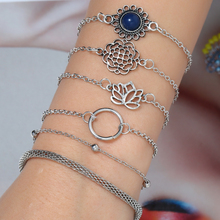 New Fashion Vintage Silver Personality Flower Geometric Bangle 6pcs For Women Open Bracelets Set Gift Wholesale Jewelry