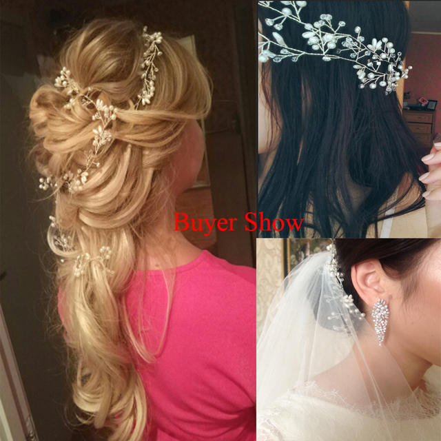 Idealway Handmade Bridal Crystal Rhinestone Hair Piece Women White Simulated-pearl DIY Jewelry Wedding Tiaras Crown Accessories