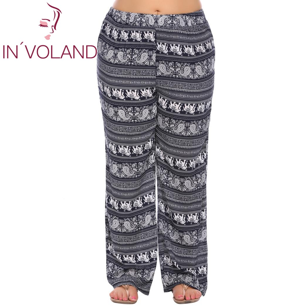 IN'VOLAND Big Size Women Trousers Bohemian Print Spring Autumn Casual Beach Loose Flat Fit Large Full Pants Plus Size XL-5XL