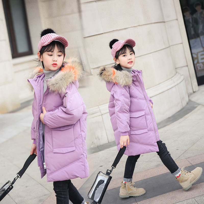 2018 New Children Down Jacket Girls Fur Collar Coat Fashion Long Winter Jacket For Girls Overcoat elegance princess winter wool coat 2016 new fashion fur stand collar overcoat winter warm jacket for girls pink red 120 160cm