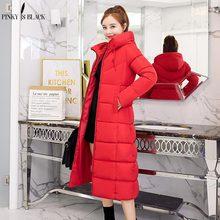 2019 新ファッション女性の冬のジャケット暖かいフード付き女性レディース冬コートロングパーカー厚みダウン綿生き抜く PinkyIsBlack