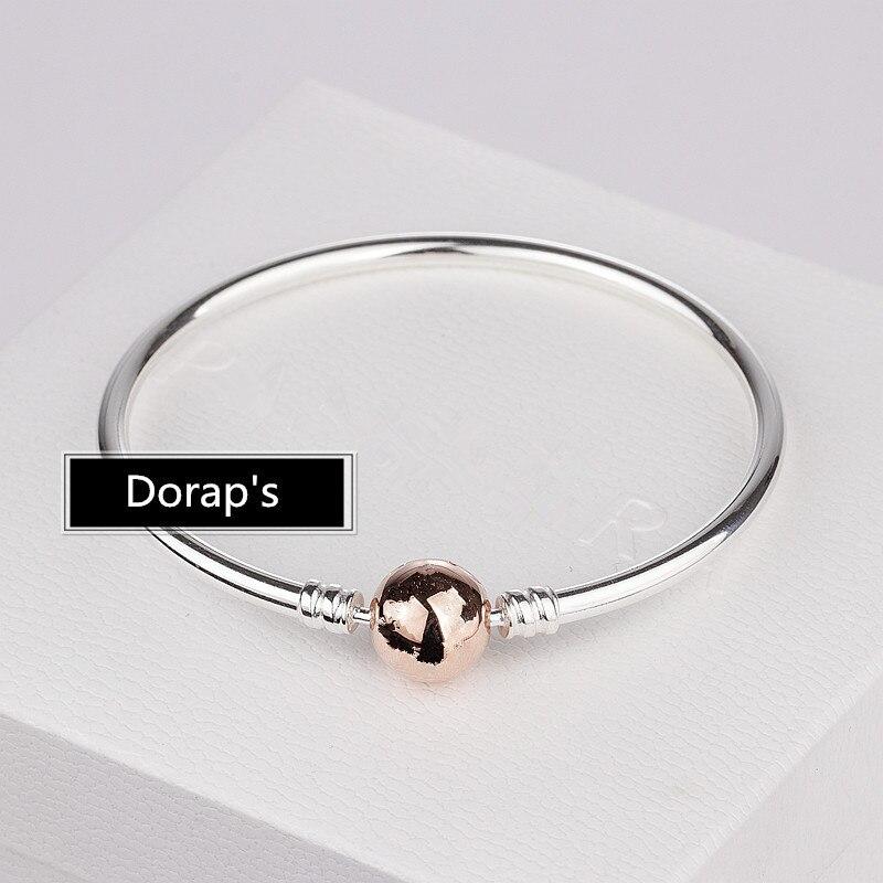 NEW! Perfect logo Charm Engraved S925 Silver Bangle Rose pandoras Bracelet DIY Making Jewelry women birthday gifts,1pz недорго, оригинальная цена