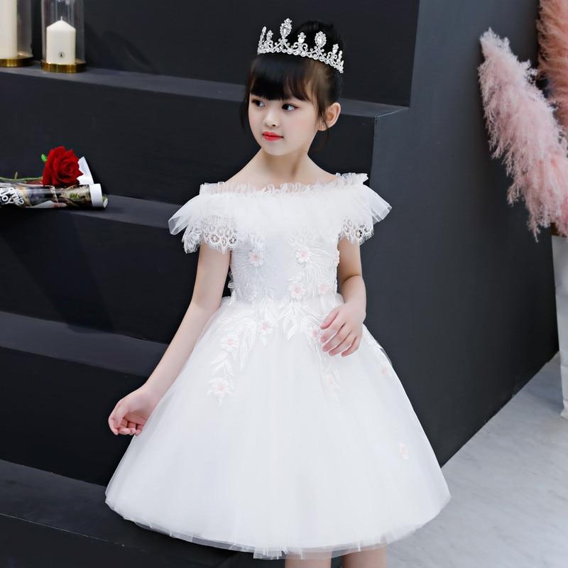 Children Girl Elegant Shoulderless White Birthday Wedding Party Ball Gown Princess Lace Flowers Dress Kids Toddler Pageant Dress