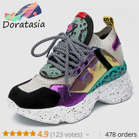 DORATASIA New Genuine Leather Suede Sock Sneakers Women 2019 Summer Horsehair Decorating High Shoes Women Casual Dad Shoes Woman