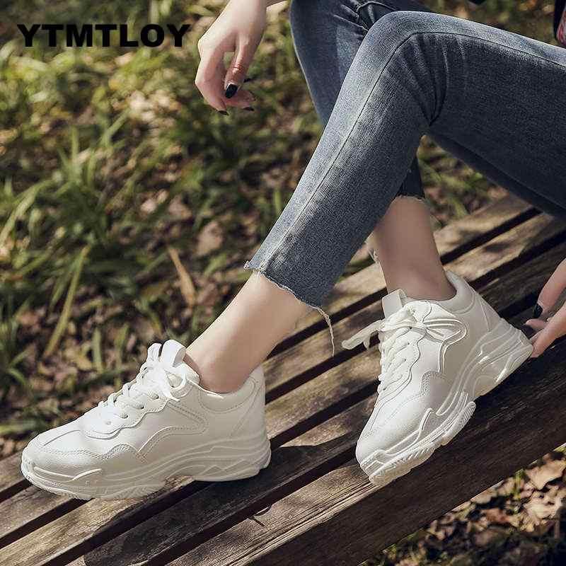 Kadın Ayakkabı Sonbahar beyaz ayakkabı Sneakers Kadın Moda 2019 Marka Retro platform ayakkabılar kadın ayakkabıları Nefes Örgü Sneakers