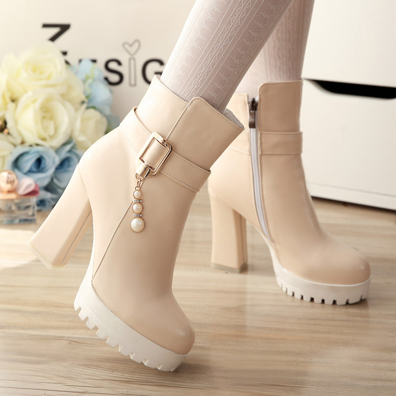 ФОТО Women plus size 33 to 43 casual high heel boots botas femininas lady cute beige round toe platform boots leisure shoes