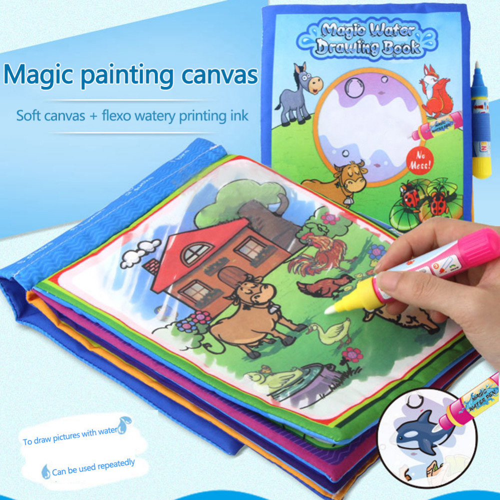 Baby Kids Story Cloth Book Magic Doodling Water Drawing Mats Toys Repeat Painting For Children Early Education Toy Boy Girl Gift