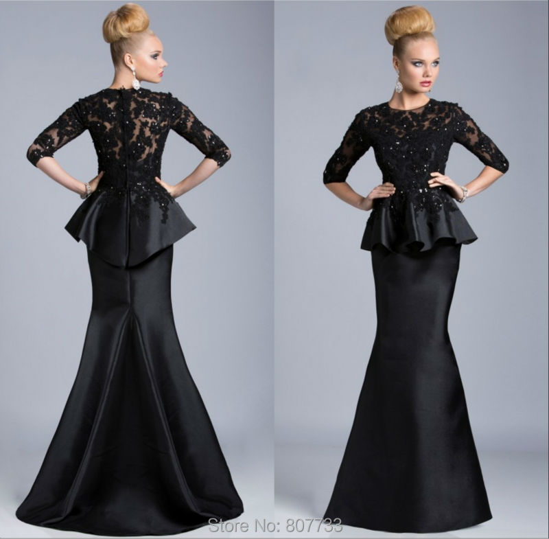 dc1d059538 W106 Long sexy black lace beaded half sleeves peplum mermaid vintage ...
