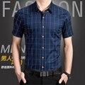 Т китай дешевые оптовая продажа 2016 летний новый клетчатую рубашку мужской деловой свободного покроя мужчин большой Большой размер тонкий срез тонкий короткий рукав рубашки