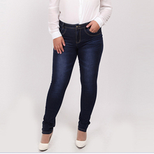2017 Winter autumn fashion brand plus size jeans blue color casual brand denim pants woman pencil jean trousers  L-5XL big size