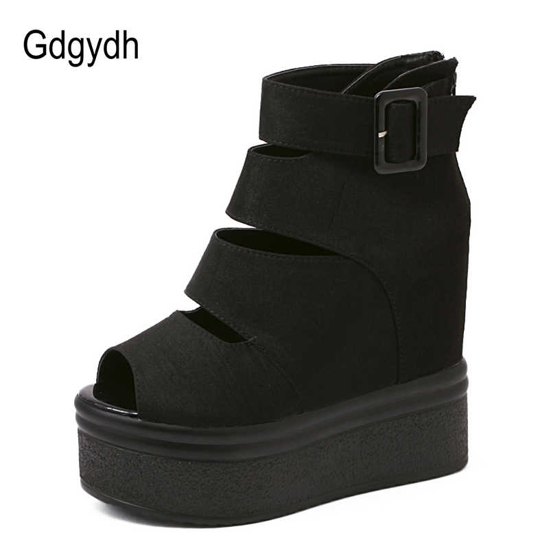 Gdgydh Akın Platformu Kadın Botları Yaz Moda Sonbahar yarım çizmeler Kadınlar Için Roma Ayakkabı Takozlar Kalın Topuklu Peep Toe Geri Fermuar