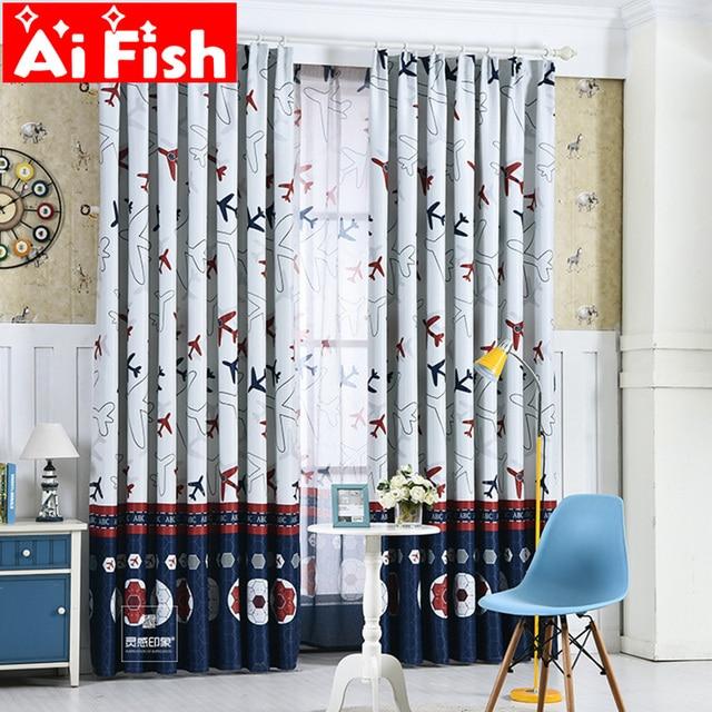 Plane Tulle Boys Kids Curtains Cartoon Curtain Fabric For Living ...