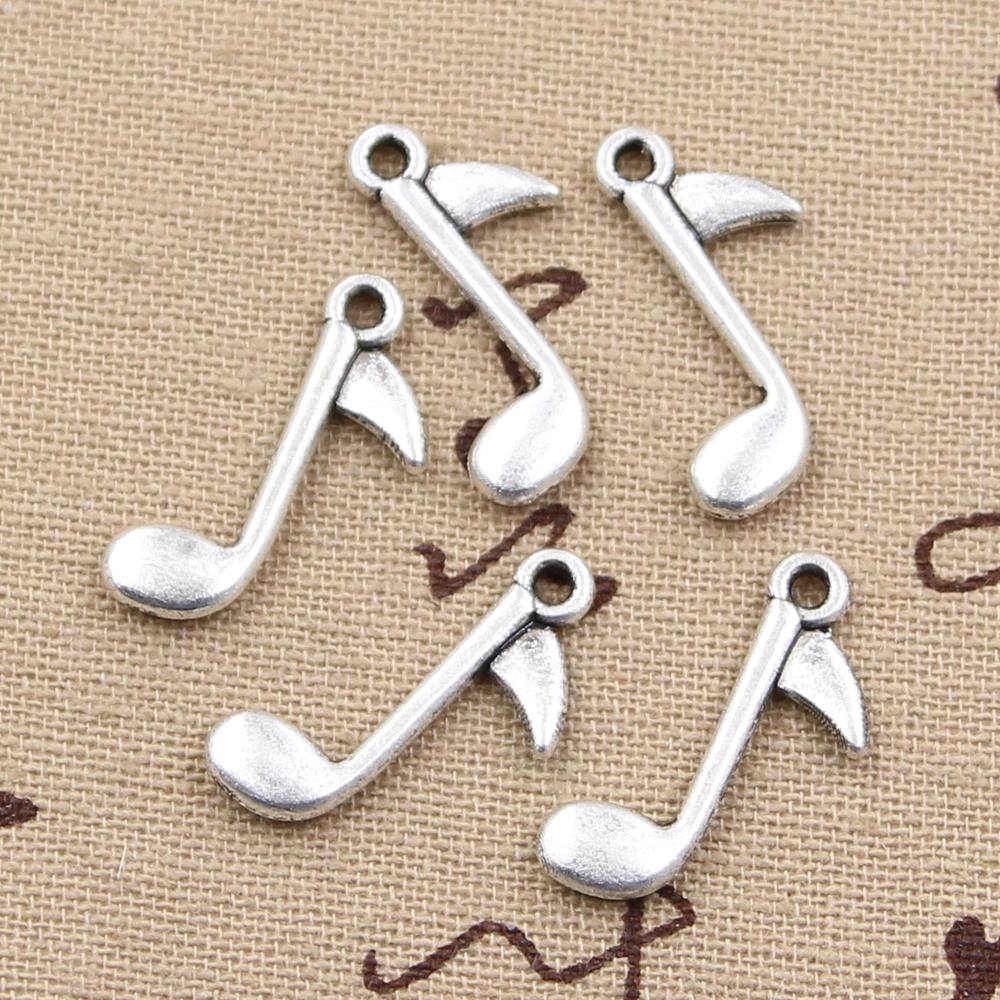 reputable site af9ae 7be74 25 pz Charms nota musicale 23 13mm Argento Antico Placcato Pendenti Fare  DIY Handmade Tibetano Gioielli In Argento