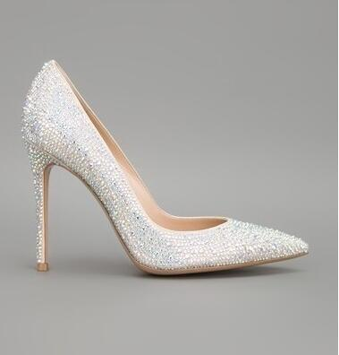 Elegant Bling Bling Crystal High Heel Pumps Pointed Toe Luxury Rhinestone Bride Dress shoes woman High Quality Fall Winter PumpsElegant Bling Bling Crystal High Heel Pumps Pointed Toe Luxury Rhinestone Bride Dress shoes woman High Quality Fall Winter Pumps
