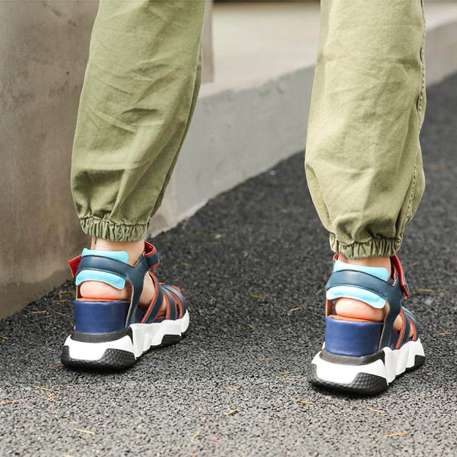 Prova perfetto 2019 새로운 혼합 색상 정품 가죽 캐주얼 샌들 여성 좁은 밴드 중공 웨지 힐 스니커즈 신발 여름-에서하이힐부터 신발 의  그룹 2