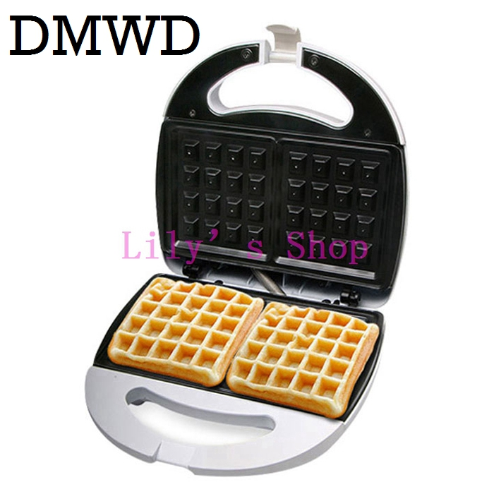 цена DMWD Electric mini cake oven QQ Eggs Waffle Maker sandwich muffins Toaster breakfast baking bread machine grill 220-240V EU US онлайн в 2017 году