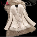 2016 New Winter Fox Fur Coat Female Short Design Clothing Large Collar Sheepskin Genuine Leather Down Outerwear Jacket Plus Size
