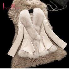 2016 New Winter Fox Fur Coat Female Short Design Clothing Large Collar Sheepskin Genuine Leather Down Outerwear Jacket Plus Size