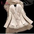 2016 Novas Roupas de Inverno Casaco de Pele De Raposa Fêmea Projeto Curto Grande Gola de pele de Carneiro Couro Genuíno Para Baixo Outerwear Casaco Plus Size