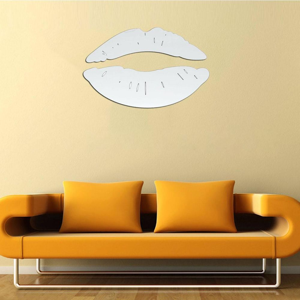 1PC Modern Morning Kissing Lips Wall Mirror Stickers Bedroom Art ...