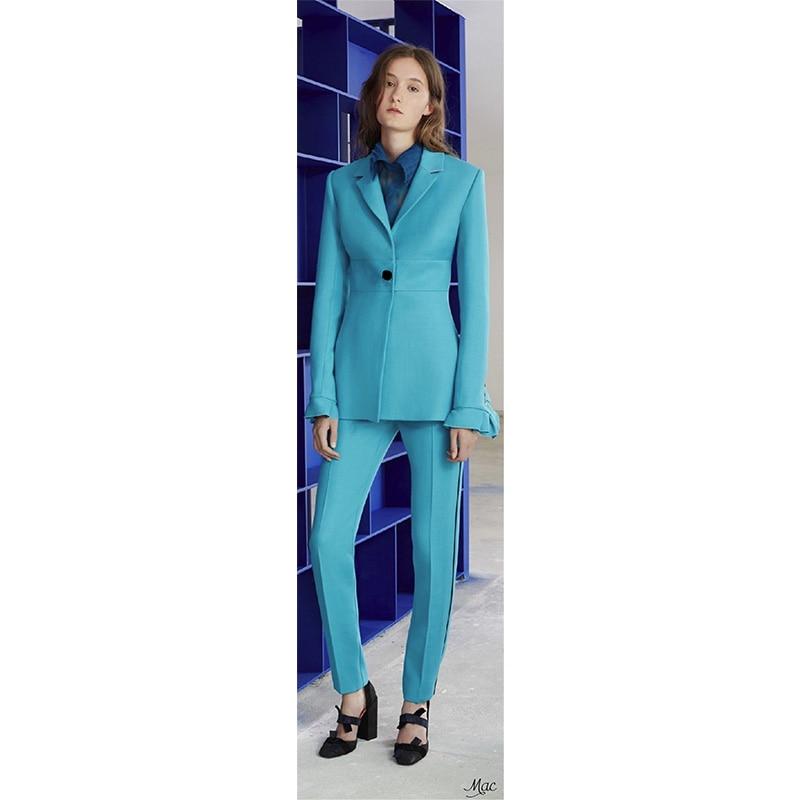 Bleu Unique Color Pièce Picture 2 Dames Femmes Breasted Femme satin D'affaires custom Uniforme Fixe Veste Fait Costume Color Personnalisé Formelle Lac As Pantalon Bureau 6wfXSqgCx