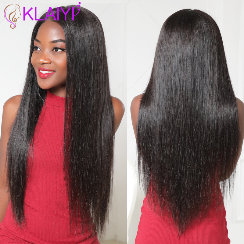 Klaiyi Hair Brazilian Straight Remy Hair Wig 12-26 Inch 13X6 Front Lace Wigs 150% Density Human Hair Wig #613 Natural Color image