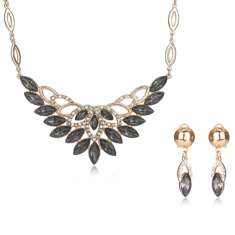 Fashion Jewelry Sets African Costume Wedding Jewellery Sets For Women Vintage Nigerian Beads Necklace Jewelry Set