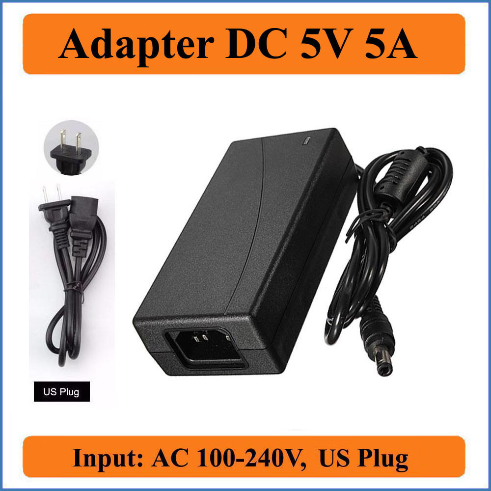 5V 5A US Plug AC DC Adapter AC 100V-240V input Converter Adapter to DC 5V 5000mA 25W Power Supply Charger 5.5mm x 2.1-2.5mm
