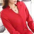 Desgaste do trabalho feminino saia ternos longo luva magro com decote em V OL terno formal para as mulheres escritório de negócios da plus size blazer com saias