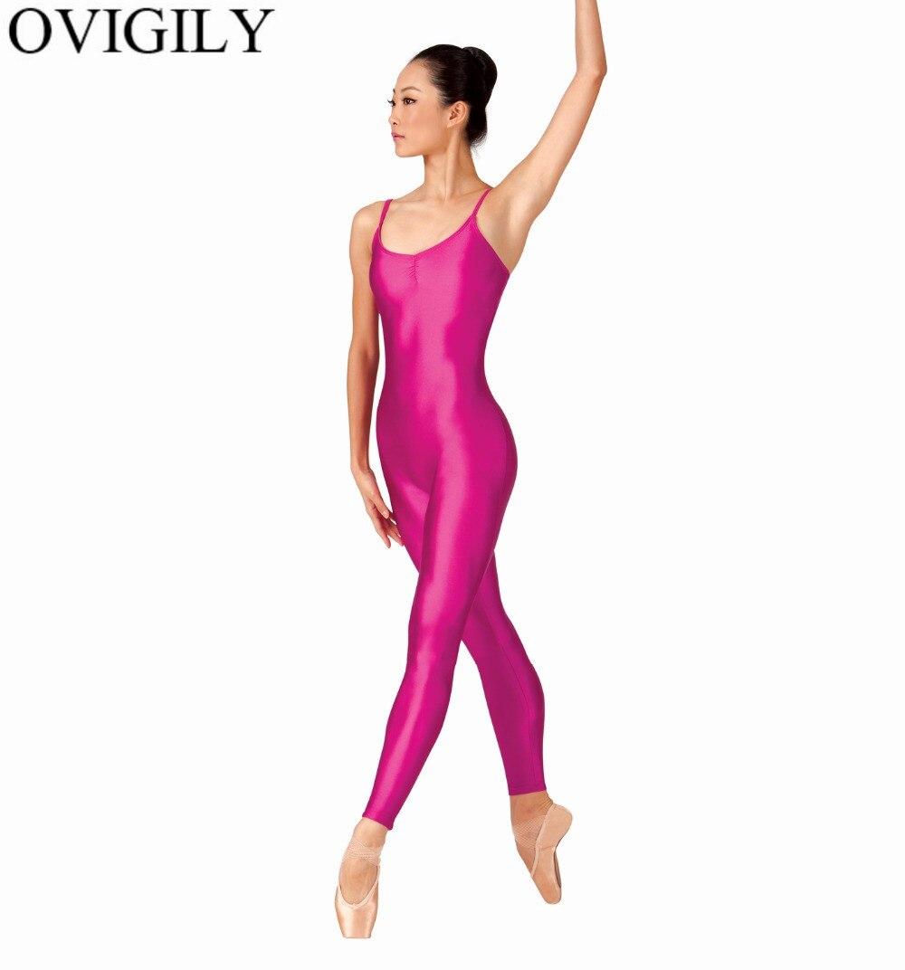 OVIGILY Women Nylon Camisole Gymnastics Unitard Pinch Front Adults Lycra Sleeveless Dance Unitards Jumpsuits Spandex Dancewear