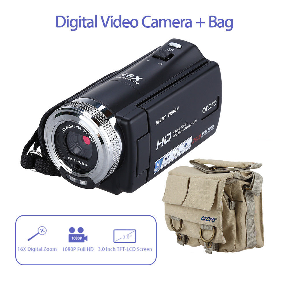 ORDRO HDV-V12 Digital Camcorder 3.0 Full HD 1080P Camera DVR Video 16x Zoom Night Vision CMOS Auto Microphone + Shoulder Bag