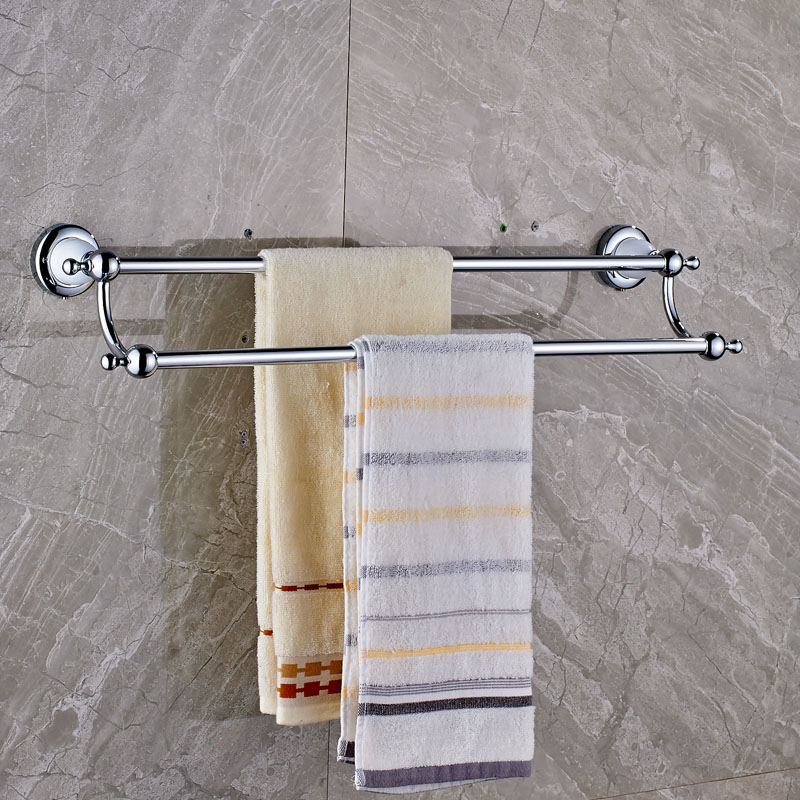 Wall Mounted Double Towel Bar Brass Chrome with Ceramic Bathroom Towel Holder