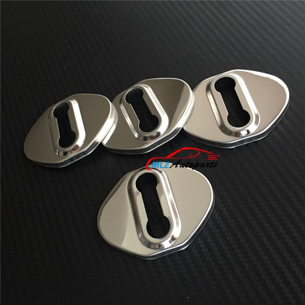 4PCS Stainless Steel Door Strikers Lock Buckle Cap Protective Cover For Skoda