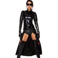 $2 Off New Black Suits Tight Trench Short Pants Faux Leather Stand Neck Role Trinity The Matrix Latex Cosplay Costume W861277
