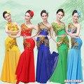 2016 Trajes de Danza Nueva Peacock Vestido Chino Minoría Dai Trajes de Rendimiento Etapa Desgaste de la Danza Nacional Femenina Falda de cola de Pescado