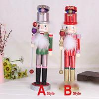Ht081 Hot toy sell lots of new wood Nutcracker coloured drawing or pattern furnishing articles Christmas gift 38 cm