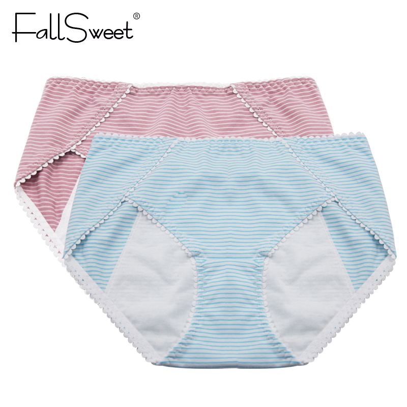 FallSweet Women Cotton Period   Panties   Leak Proof Menstrual Briefs Mid Waist Physiological Pants Female