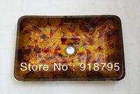 Free Shipping Rectangle Glass Handcraft Bathroom Sink Wash Basins JN 4029
