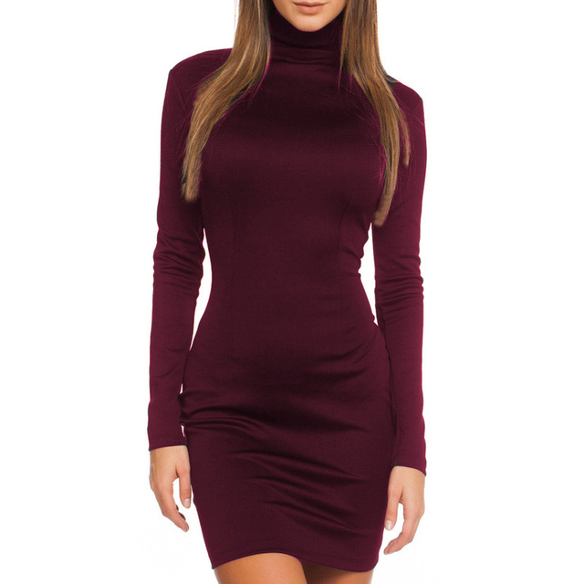 Women Clothes 2018 Autumn Long Sleeve Bodycon Casual Dress Fall Winter Slimming Solid Color Elegant Temperament Quality Dresses 3