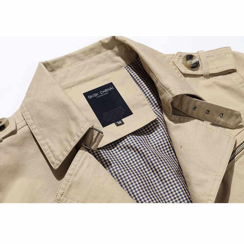 2019 Primavera Outono Trincheira Dos Homens 100% Algodão Homem Trincheira Outono Outerwear Moda Casual Casaco Masculino Jaquetas Plus Size 4XL 5XL