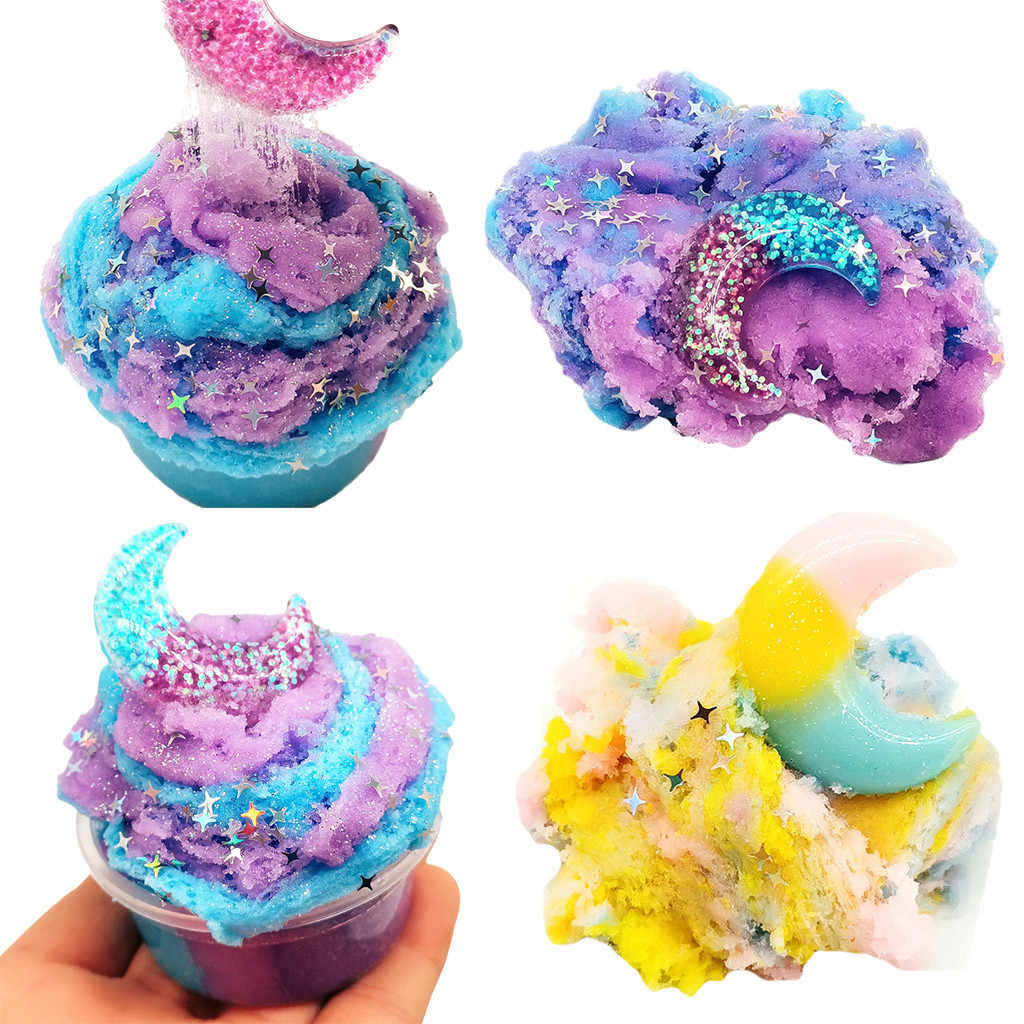 Fluffy Floam Slime Beautiful Moon Colorful Cloud Slime Putty Scented Stress Kids 60ml Antistress Putty Clay Toy Dropshipping
