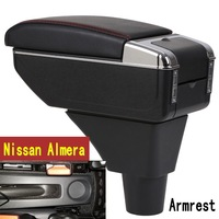 For Nissan Almera G15 Armrest box central Store content box with cup holder ashtray with USB interface
