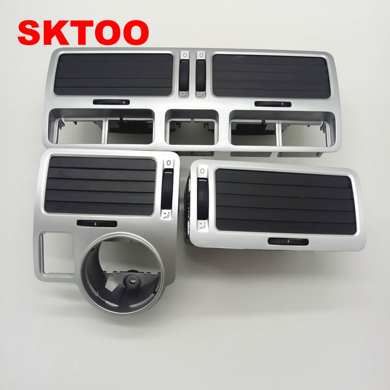 SKTOO Silver For VW bora golf 4 instrument air outlet central air-conditioning air outlet,a set air outlet 2017 car dashboard console central air conditioning ventilation grille air outlet trim for vw jetta 4 bora mk4 1998 2005