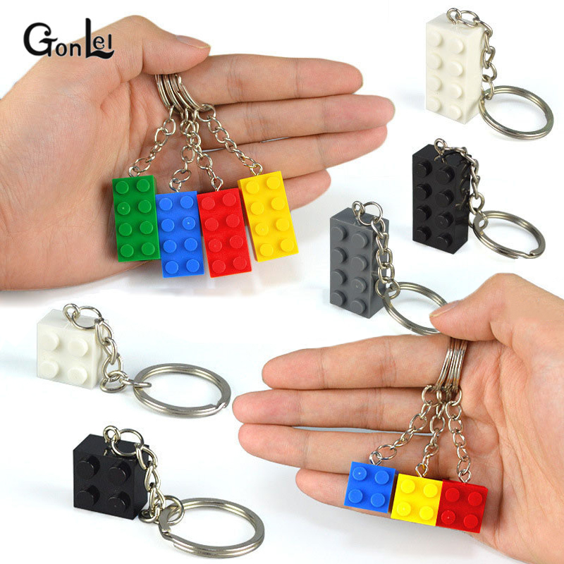 20Pcs/Lot Colorful Brick 2x4 2x2 Heart-shaped Key Chain Building Block Toys For Kids Gift Compatible With MOC Brick Keychain