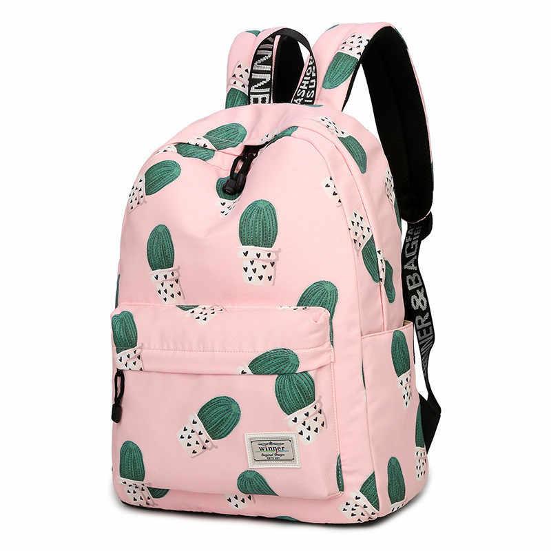 71f114bee9 Cactus Printing Backpack Women USB Charging bag Travel Backpacks Bag for  Teenage Girls Rucksack bag Female
