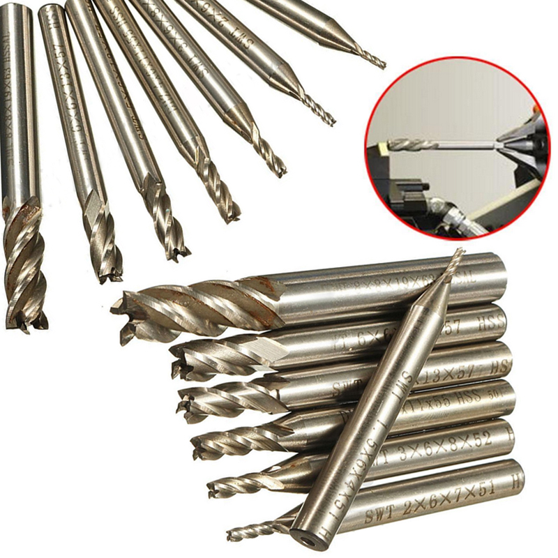 7pcs/set Carbide End Mill Cutter HSS 4 Flutes Milling Cutter Straight Shank Router Bit Set 1.5-8mm 3 4 x 1 4 cutter tool 12mm straight shank 8 flutes hss t slot end mill milling